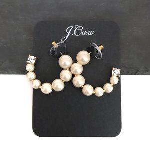 J. Crew Faux Pearl Crystal Hoop Earrings NEW